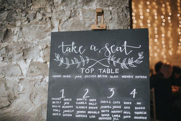 Chalkboard Table Plan   Country Wedding at Farmers Barns, Rosedew Farm, Cardiff   Grace Elizabeth Photography and Film