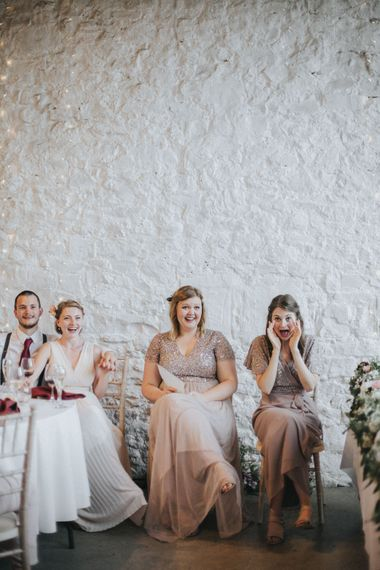 Bridesmaids in Nude Dresses   Country Wedding at Farmers Barns, Rosedew Farm, Cardiff   Grace Elizabeth Photography and Film