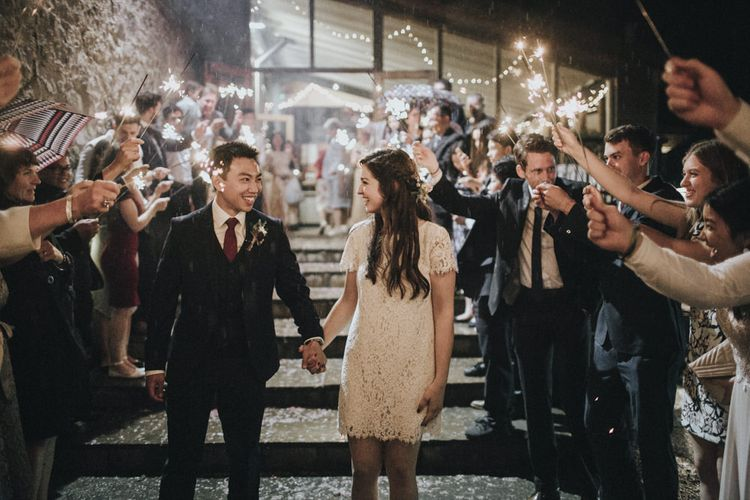 Sparkler Exit   Bride in Short Lace Dress   Groom in Slaters Suit   Country Wedding at Farmers Barns, Rosedew Farm, Cardiff   Grace Elizabeth Photography and Film