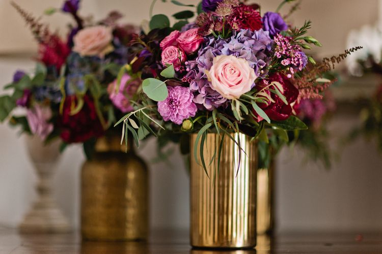 Pink & Purple Wedding Flowers in Gold Vases | Jewel Coloured Spanish Wedding Planned & Styled by Rachel Rose Weddings | Anna Gazda Photography
