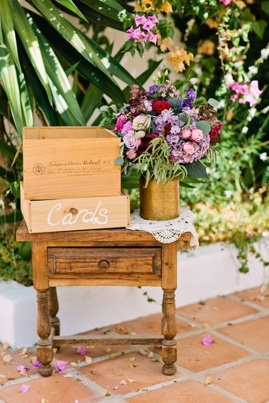 Wooden Card Box on Antique Table | Jewel Coloured Spanish Wedding Planned & Styled by Rachel Rose Weddings | Anna Gazda Photography