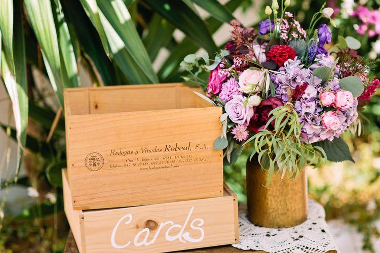 Wooden Wedding Card Box | Jewel Coloured Spanish Wedding Planned & Styled by Rachel Rose Weddings | Anna Gazda Photography