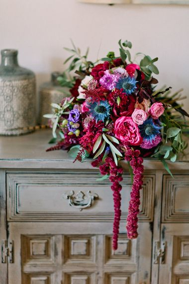Deep Pink, Purple & Blue Hues Bridal Bouquet | Jewel Coloured Spanish Wedding Planned & Styled by Rachel Rose Weddings | Anna Gazda Photography