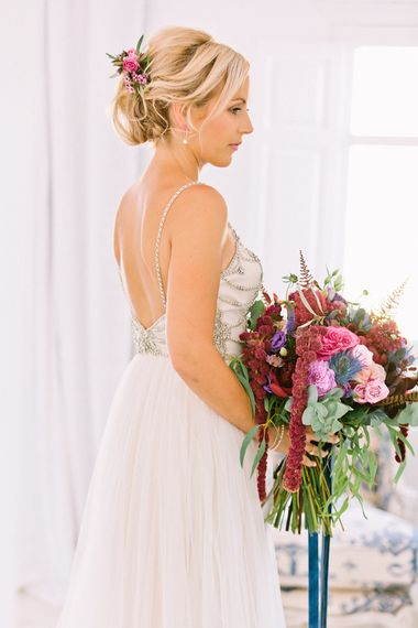 "Jewel Bouquet | Beautiful Bride in Catherine Dean ""Freya"" Gown | Jewel Coloured Spanish Wedding Planned & Styled by Rachel Rose Weddings | Anna Gazda Photography"