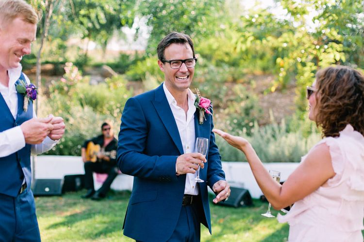 Groom in Navy Blue Reiss Suit | Jewel Coloured Spanish Wedding Planned & Styled by Rachel Rose Weddings | Anna Gazda Photography