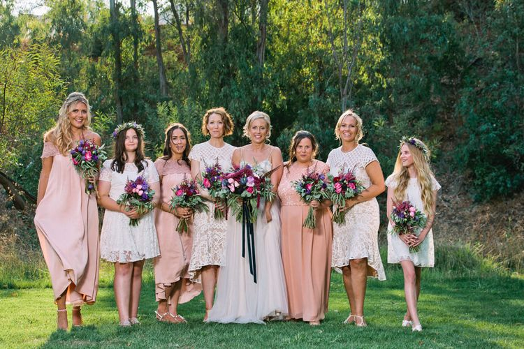 Bridal Party in High Street Dresses | Jewel Coloured Spanish Wedding Planned & Styled by Rachel Rose Weddings | Anna Gazda Photography