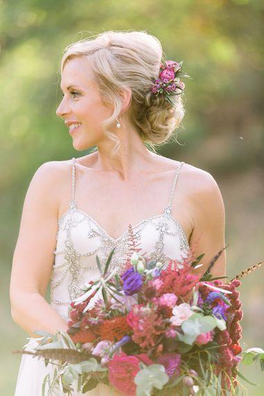 Bride in Catherine Deane 'Freya' Gown | Jewel Coloured Spanish Wedding Planned & Styled by Rachel Rose Weddings | Anna Gazda Photography