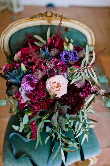 Deep Pink & Purple Wedding Bouquet | Jewel Coloured Spanish Wedding Planned & Styled by Rachel Rose Weddings | Anna Gazda Photography