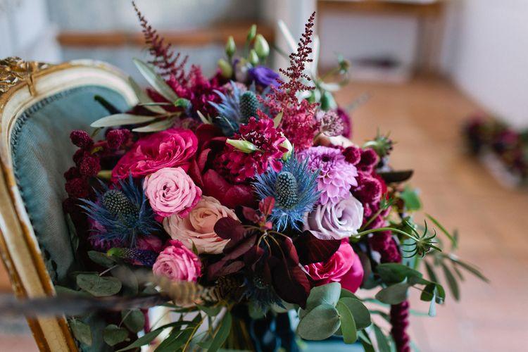 Bright Pink & Purple Wedding Bouquet | Jewel Coloured Spanish Wedding Planned & Styled by Rachel Rose Weddings | Anna Gazda Photography