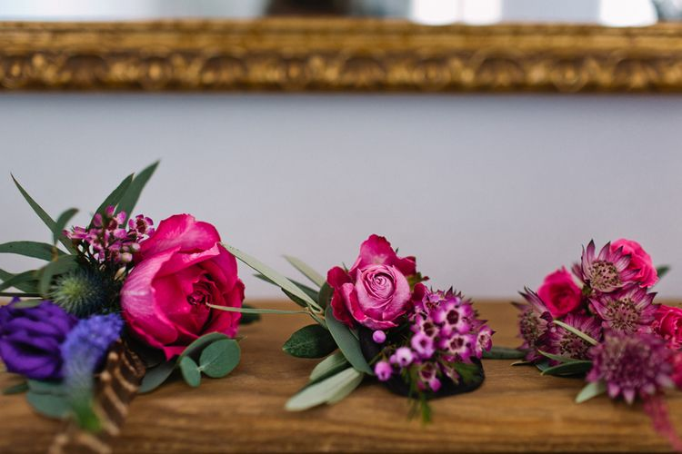 Bright Pink Button Holes | Jewel Coloured Spanish Wedding Planned & Styled by Rachel Rose Weddings | Anna Gazda Photography