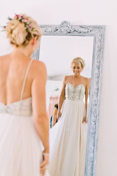 Bride in Catherine Dean 'Freya' Wedding Dress | Jewel Coloured Spanish Wedding Planned & Styled by Rachel Rose Weddings | Anna Gazda Photography