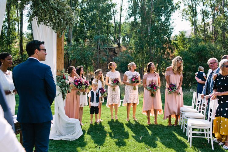 Wedding Ceremony | Bridesmaids in Highstreet Dresses | Jewel Coloured Spanish Wedding Planned & Styled by Rachel Rose Weddings | Anna Gazda Photography