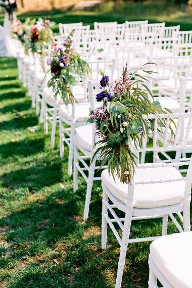 Aisle Wedding Chair Flowers | Jewel Coloured Spanish Wedding Planned & Styled by Rachel Rose Weddings | Anna Gazda Photography