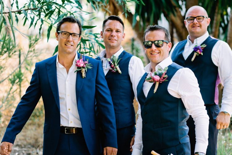 Groomsmen in Reiss Suits | Jewel Coloured Spanish Wedding Planned & Styled by Rachel Rose Weddings | Anna Gazda Photography