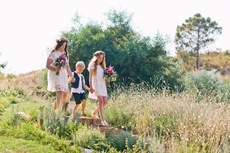 Page Boy & Flower Girls with Flower Crowns | Jewel Coloured Spanish Wedding Planned & Styled by Rachel Rose Weddings | Anna Gazda Photography
