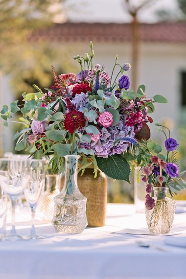 Floral Centrepiece | Jewel Coloured Spanish Wedding Planned & Styled by Rachel Rose Weddings | Anna Gazda Photography