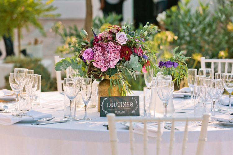 Floral Table Centrepiece | Jewel Coloured Spanish Wedding Planned & Styled by Rachel Rose Weddings | Anna Gazda Photography