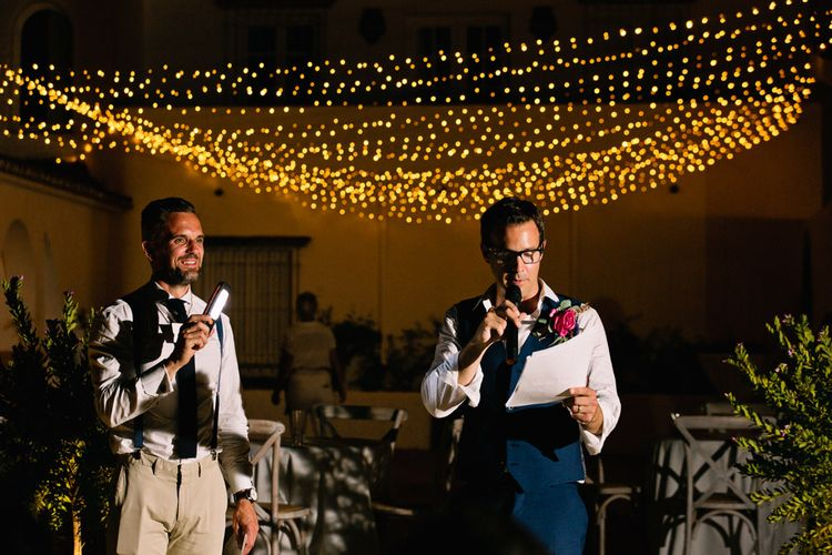 Speeches | Groom in Reiss Suit | Jewel Coloured Spanish Wedding Planned & Styled by Rachel Rose Weddings | Anna Gazda Photography