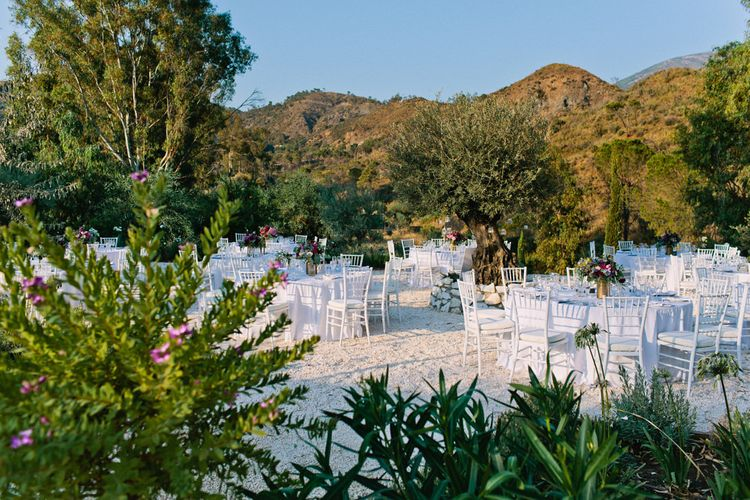 Outdoor Reception | Jewel Coloured Spanish Wedding Planned & Styled by Rachel Rose Weddings | Anna Gazda Photography