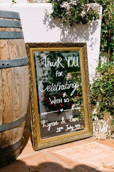 Mirror Wedding Sign | Jewel Coloured Spanish Wedding Planned & Styled by Rachel Rose Weddings | Anna Gazda Photography