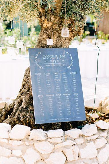 Chalkboard Table Plan | Jewel Coloured Spanish Wedding Planned & Styled by Rachel Rose Weddings | Anna Gazda Photography