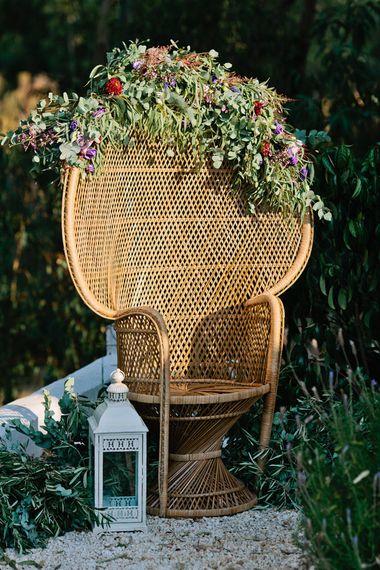 Peacock Chair Wedding Decor | Jewel Coloured Spanish Wedding Planned & Styled by Rachel Rose Weddings | Anna Gazda Photography