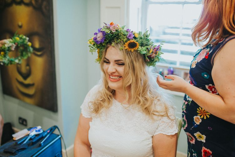 Bride in ASOS Gown & Flower Crown | Bright DIY Back Garden Wedding | Lisa Webb Photography