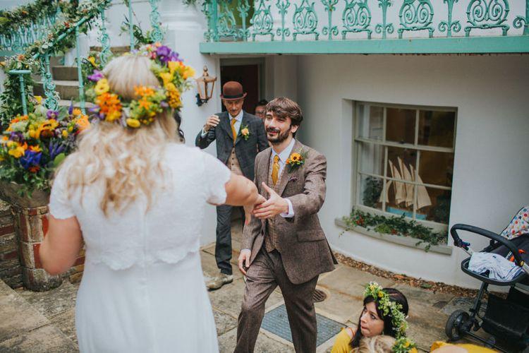 Bride & Groom First Look | Bright DIY Back Garden Wedding | Lisa Webb Photography