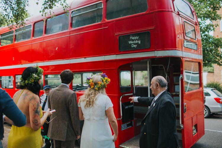 London Bus | Bright DIY Back Garden Wedding | Lisa Webb Photography