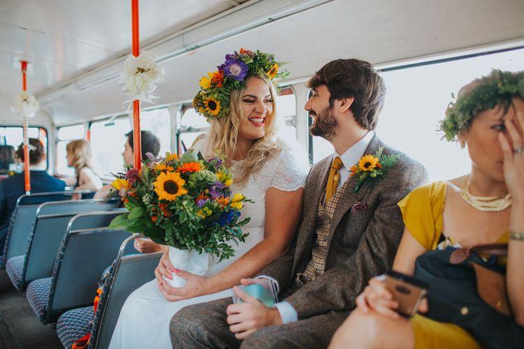 Bride & Groom London Bus | Bright DIY Back Garden Wedding | Lisa Webb Photography