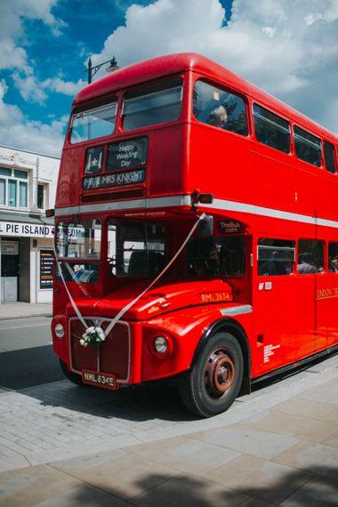 London Bus Wedding Transport | Bright DIY Back Garden Wedding | Lisa Webb Photography