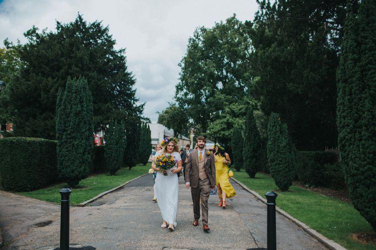 Bride in ASOS Wedding Dress | Groom in Tweed Suit | Bright DIY Back Garden Wedding | Lisa Webb Photography