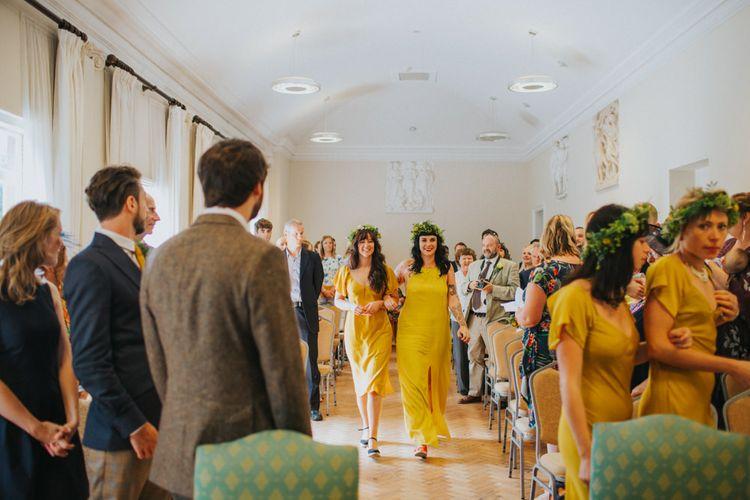 Wedding Ceremony | Bridesmaids in Yellow Topshop & ASOS Dresses | Bright DIY Back Garden Wedding | Lisa Webb Photography