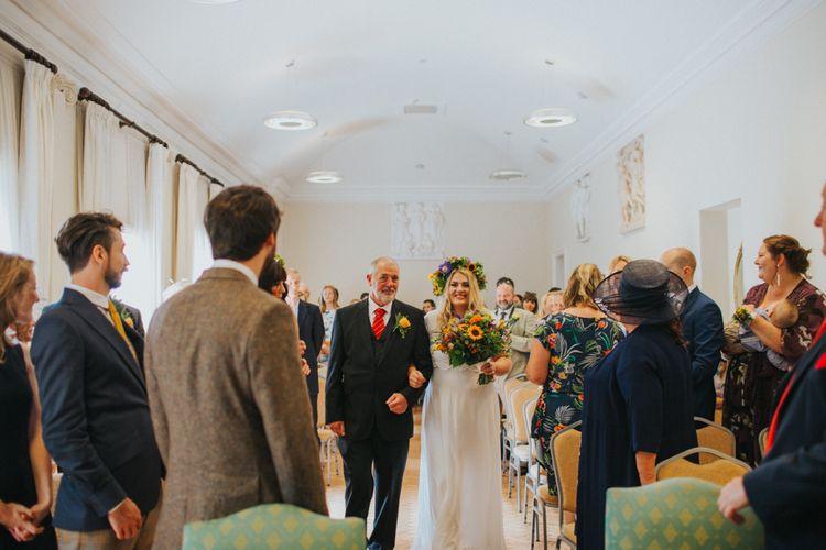 Wedding Ceremony | Bridal Entrance in ASOS Wedding Dress | Bright DIY Back Garden Wedding | Lisa Webb Photography