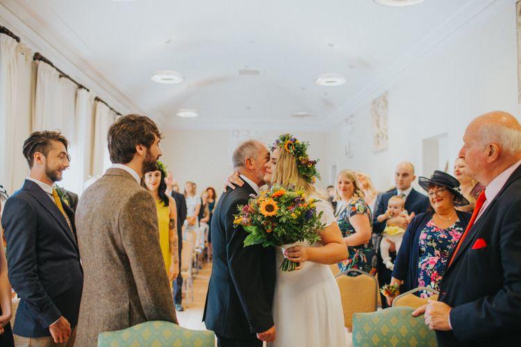 Wedding Ceremony | Bride in ASOS Wedding Dress | Groom in Tweed Suit | Bright DIY Back Garden Wedding | Lisa Webb Photography