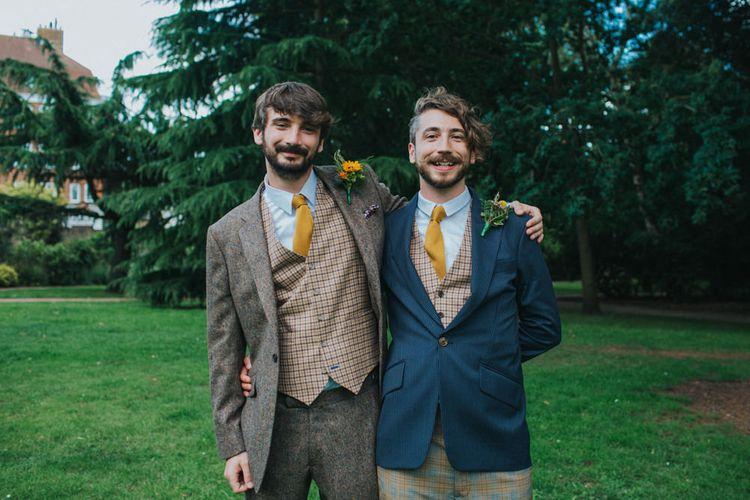Groom in Tweed Suit | Bright DIY Back Garden Wedding | Lisa Webb Photography