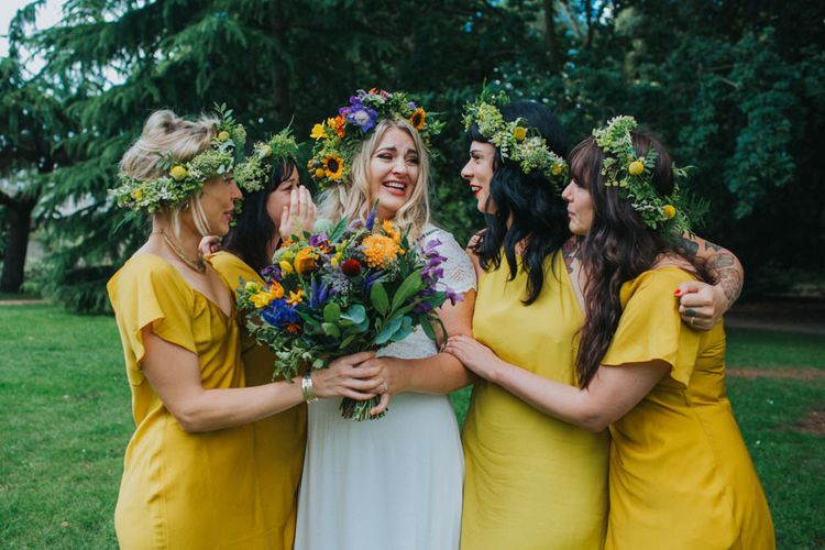 Bridesmaids in Yellow Dresses | Bride in ASOS Bridal Gown | Bright DIY Back Garden Wedding | Lisa Webb Photography