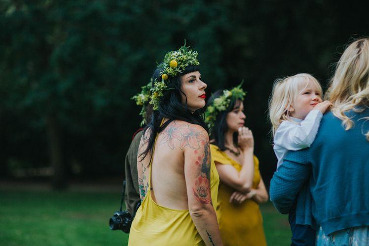 Bridesmaid in Yellow Dress with Flower Crown | Bright DIY Back Garden Wedding | Lisa Webb Photography