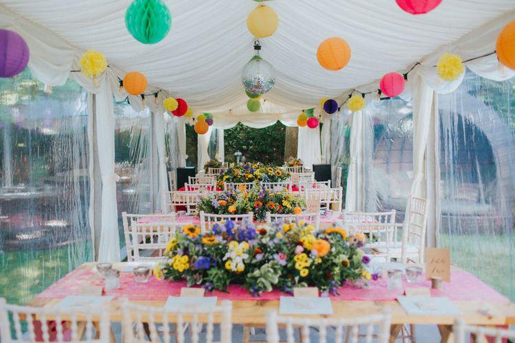 Colourful Marquee Reception | Bright DIY Back Garden Wedding | Lisa Webb Photography | Bright DIY Back Garden Wedding | Lisa Webb Photography