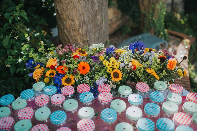 Jam Wedding Flavours | Bright DIY Back Garden Wedding | Lisa Webb Photography | Bright DIY Back Garden Wedding | Lisa Webb Photography