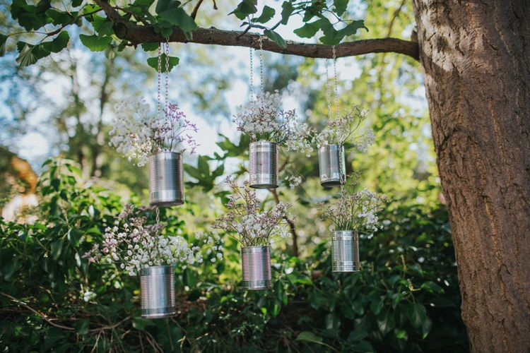 Hanging Tin Can Wedding Decor | Bright DIY Back Garden Wedding | Lisa Webb Photography | Bright DIY Back Garden Wedding | Lisa Webb Photography