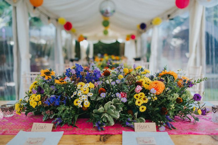 Top Table Wedding Flowers | Bright DIY Back Garden Wedding | Lisa Webb Photography | Bright DIY Back Garden Wedding | Lisa Webb Photography