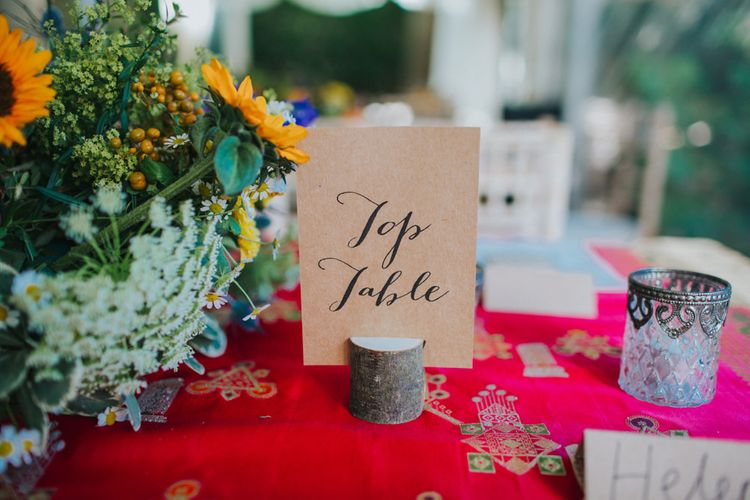 Kraft Paper Calligraphy Table Names | Bright DIY Back Garden Wedding | Lisa Webb Photography | Bright DIY Back Garden Wedding | Lisa Webb Photography