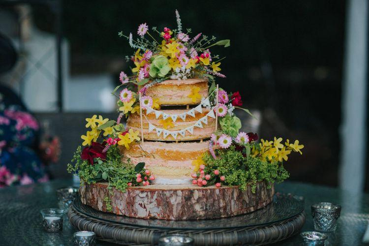 Homemade Naked Wedding Cake | Bright DIY Back Garden Wedding | Lisa Webb Photography | Bright DIY Back Garden Wedding | Lisa Webb Photography