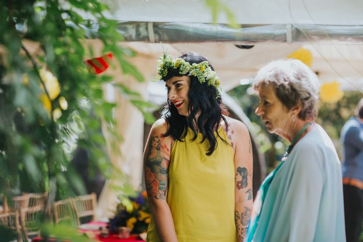 Bridesmaid in Yellow Dress | Bright DIY Back Garden Wedding | Lisa Webb Photography | Bright DIY Back Garden Wedding | Lisa Webb Photography