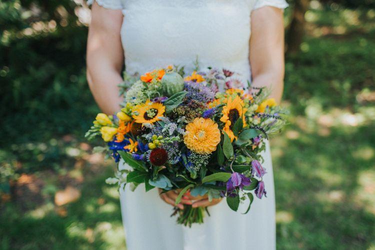 Colourful Bridal Bouquet | Bride in ASOS Wedding Dress | Bright DIY Back Garden Wedding | Lisa Webb Photography | Bright DIY Back Garden Wedding | Lisa Webb Photography