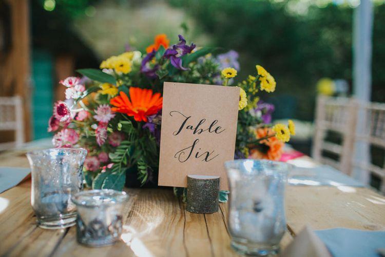 Kraft Paper Calligraphy Table Names | Bright DIY Back Garden Wedding | Lisa Webb Photography | Bright DIY Back Garden Wedding | Lisa Webb Photography
