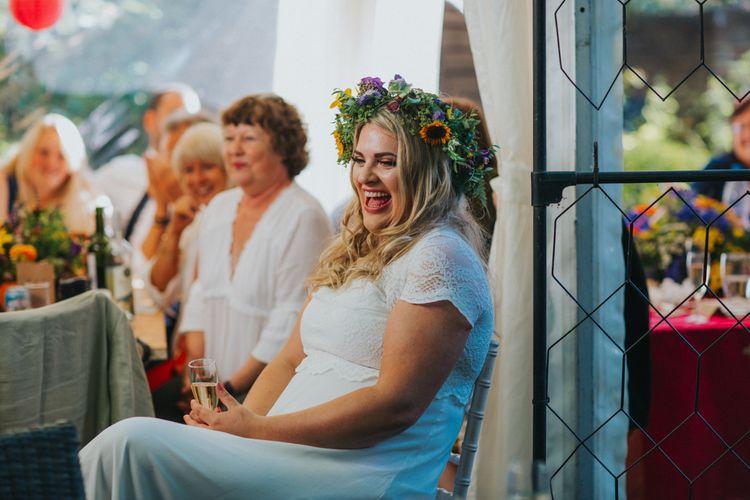 Bride in ASOS Wedding Dress | Bright DIY Back Garden Wedding | Lisa Webb Photography | Bright DIY Back Garden Wedding | Lisa Webb Photography