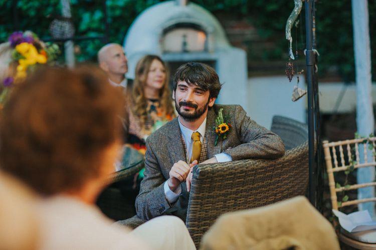 Groom in Tweed Suit | Bright DIY Back Garden Wedding | Lisa Webb Photography | Bright DIY Back Garden Wedding | Lisa Webb Photography