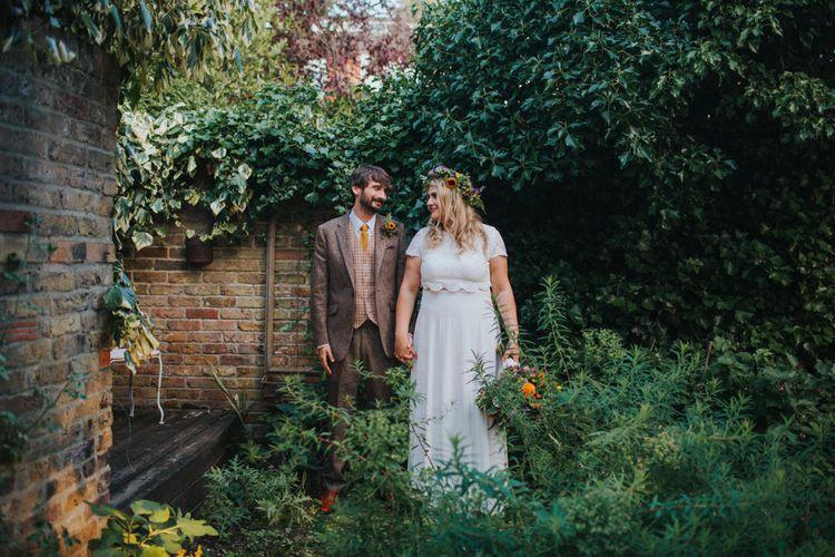 Bride in ASOS Wedding Dress | Groom in Tweed Suit | Bright DIY Back Garden Wedding | Lisa Webb Photography | Bright DIY Back Garden Wedding | Lisa Webb Photography